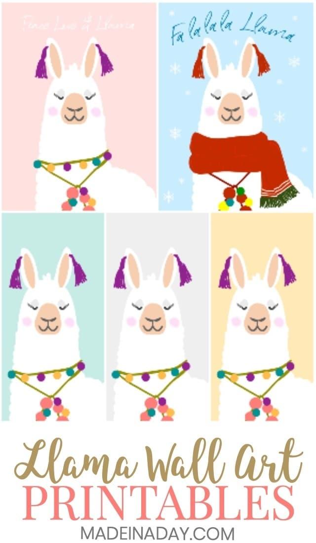 National Llama Day: Llama Printable Wall Art, alpaca wall art, fa la la la llama holiday printable, Peace Love Llama, #holiday #llama #alpaca #wallart #printablewallart #artprints #peace #peacelovellama #llamalove #llamadrama #llamaprintable #homedecor #printables #freebies #llamaday