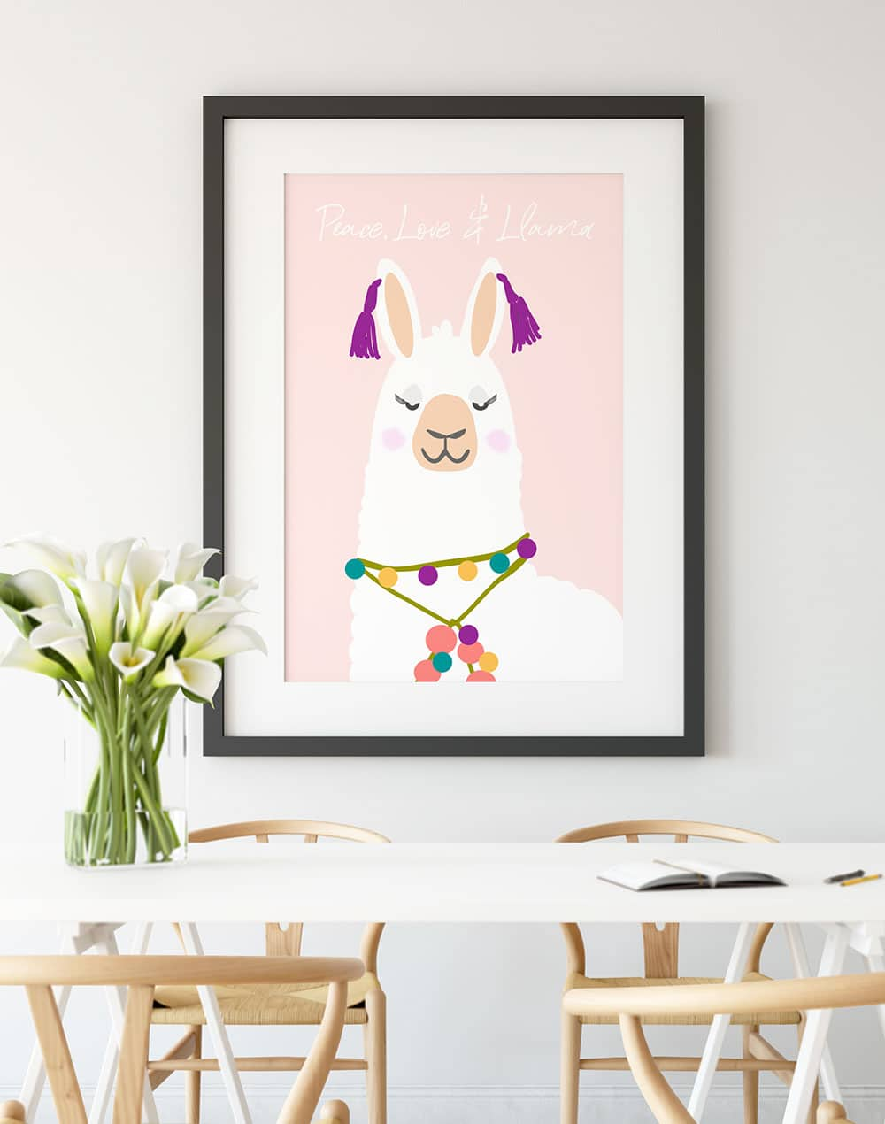Llama day, Peace, Love and Llamas, National Llama day Printable Wall Art, Llama Free Download, llama decor, Alpaca Wall Art