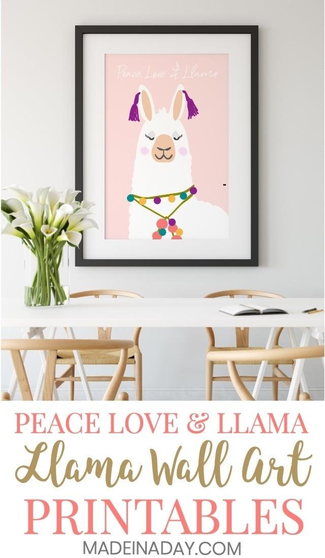 llama wall art printables, Peace Love & llama & a Holiday llama