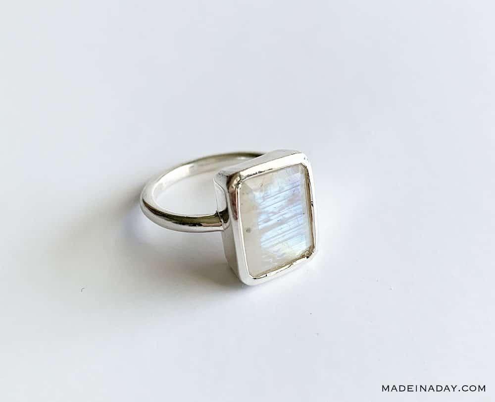 handmade Silver Rectangle Cut Rainbow Moonstone Ring, handmade ring, Amazon handmade ring