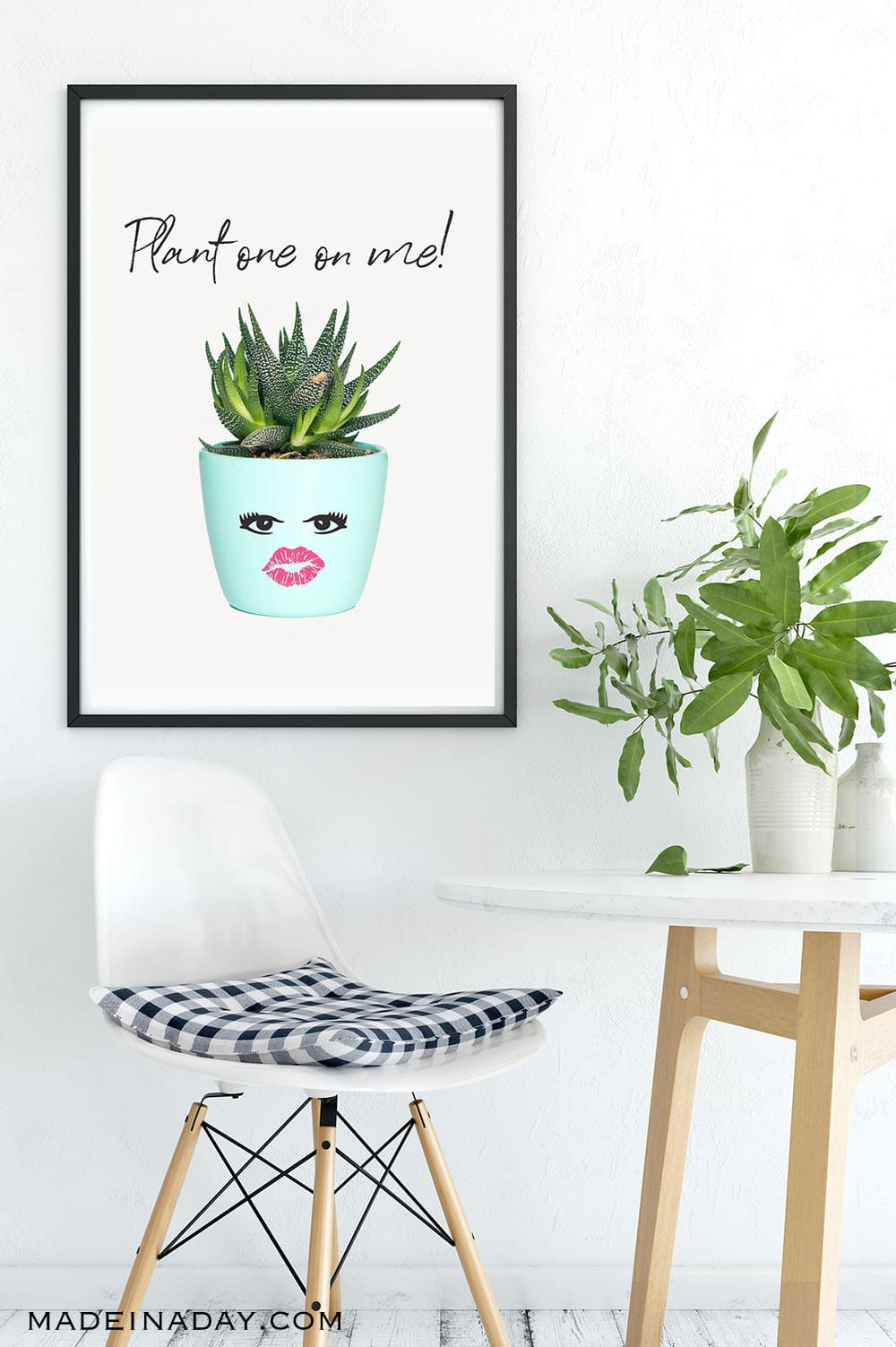 Plant one on me printable, succulent plant one on me, succulent printables free, lips plant one on me printable, plant printable, botanical printable, teal botanical printable, aloe plant printable, plant face printable, potted plant face printable