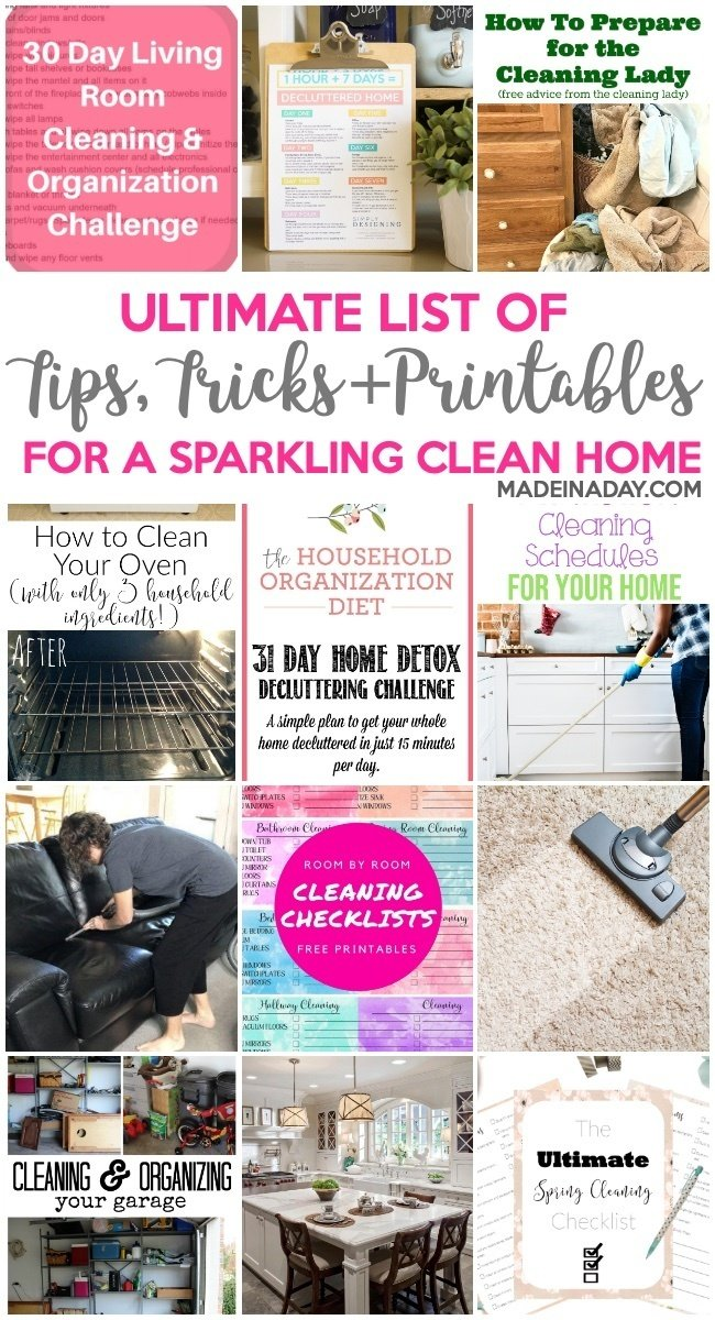 Ultimate List of Tips & Printables for a Clean Home, decluttering the garage, 30-day room challenge, cleaning printables, clean your carpets and rugs, how to clean an oven, home detox, cleaning checklists, spring cleaning, #clean #cleaning #Printables #declutter #carpetcleaning #roomchallenge #cleaningschedules