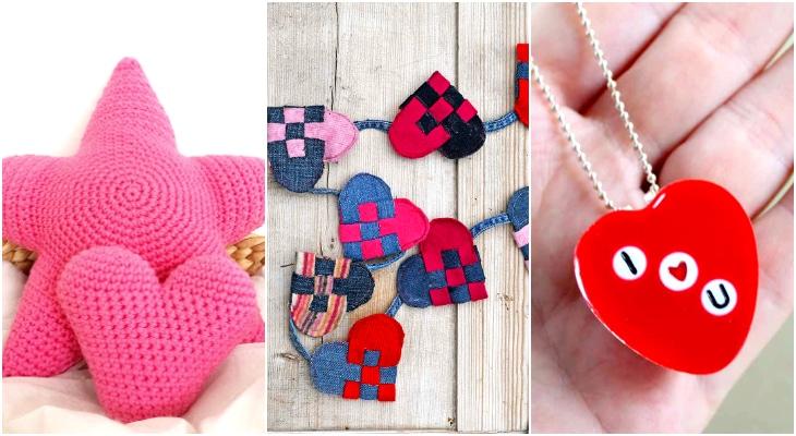 quick valentine crafts, crochet heart pillow, heart garland, heart necklace