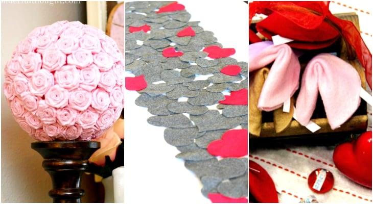 diy valentine's day decor, heart table runner, valentine fortune cookies