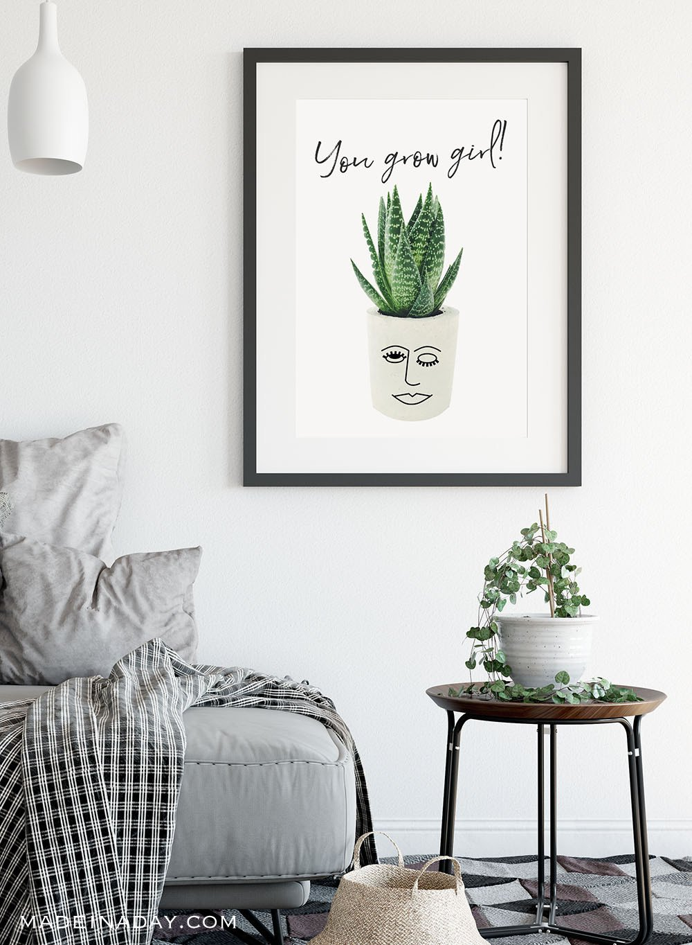 You grow girl printable wall art, you go girl wall art, you grow girl plant face, face planter succulent printable, boho succulent printable, aloe plant printable, gallery wall printables, green plant printables,