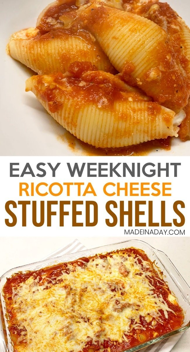 Simple Weeknight Ricotta Stuffed Shells, classic shells and cheese, cheesy stuffed shells, stuffed ricotta shells, how to make stuffed shells #recipe #weeknightrecipe #comfortfood #simplemeal #meal #casserole #shells #cheese