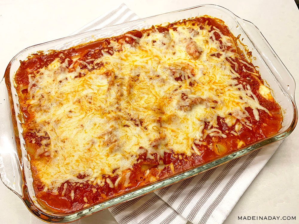 simple stuffed shells, cheesy stuffed shells casserole, ricotta stuffed jumbo shells