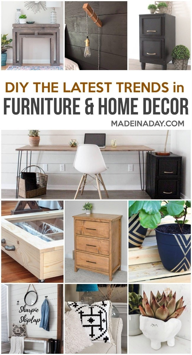 DIY Furniture and Home Decor Projects for Every Style, DIY Kilim Pillows, DIY hairpin leg table, DIY console table, Filing Cabinet makeover, DIY Dresser, Painted Planters, under bed shoe storage, sharpie shiplap walls, clay face planter, #homedecor #DIY #makover #upcycle #furniture #hometrends #decortrends #