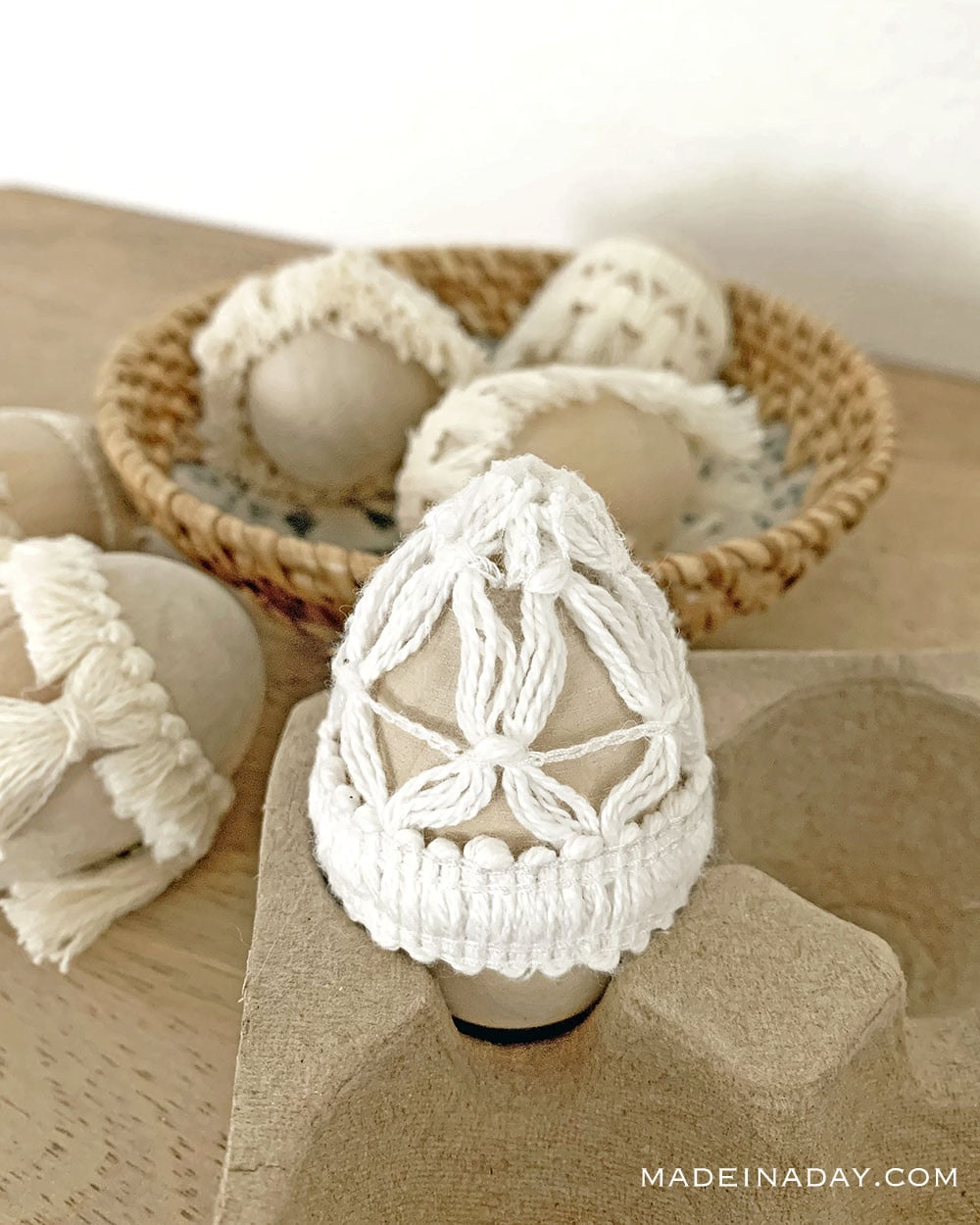 Macrame Easter Egg, Lace Easter egg, fringe Easter egg,