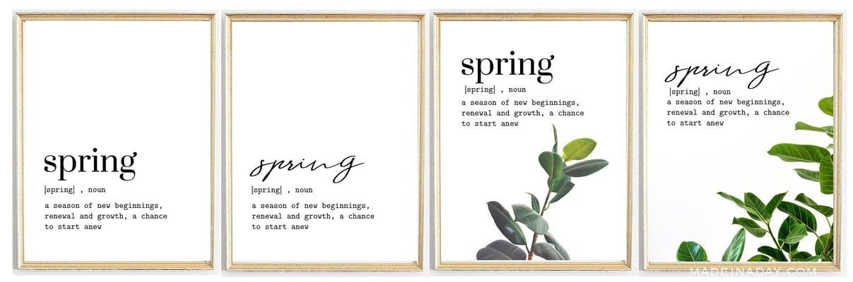 four minimal spring printables,