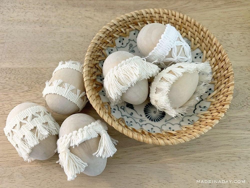 natural tassel eggs, macrame Easter eggs, boho Easter egg, fringe easter egg,
