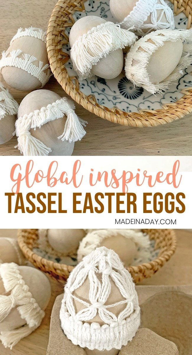 Simple Natural Tassel Easter Eggs,
