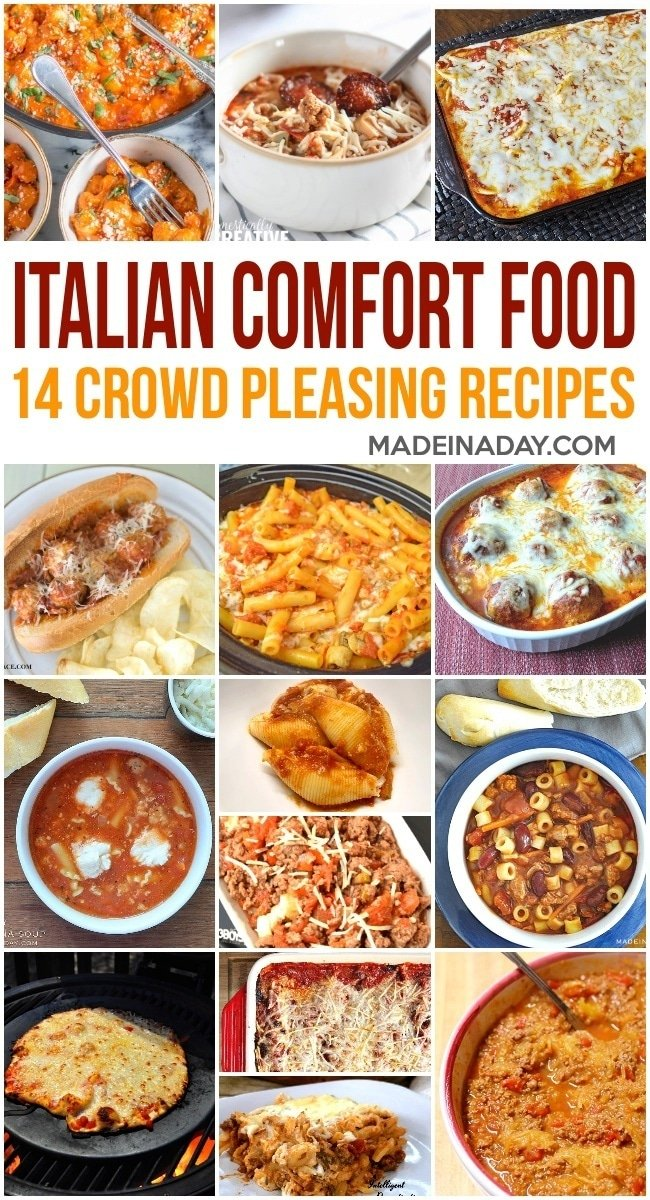 14 Crowd Pleasing Italian Comfort Food Recipes, baked ravioli, cheesy stuffed shells, wood fired pizza, gnocchi, slow cooker ziti, meatball subs, easy spaghetti bolognese, Pasta e Fagioli soup Olive Garden Knockoff, spaghetti squash, lasagna, baked zoodles & meatballs, pizza soup, keto recipes #keto #spaghettisquash #ziti #pasta #Italianfood #Italianrecipes #zoodles #ravioli #pizza #lowcarb #lasagna #gnocchi #slowcooker #instantpot