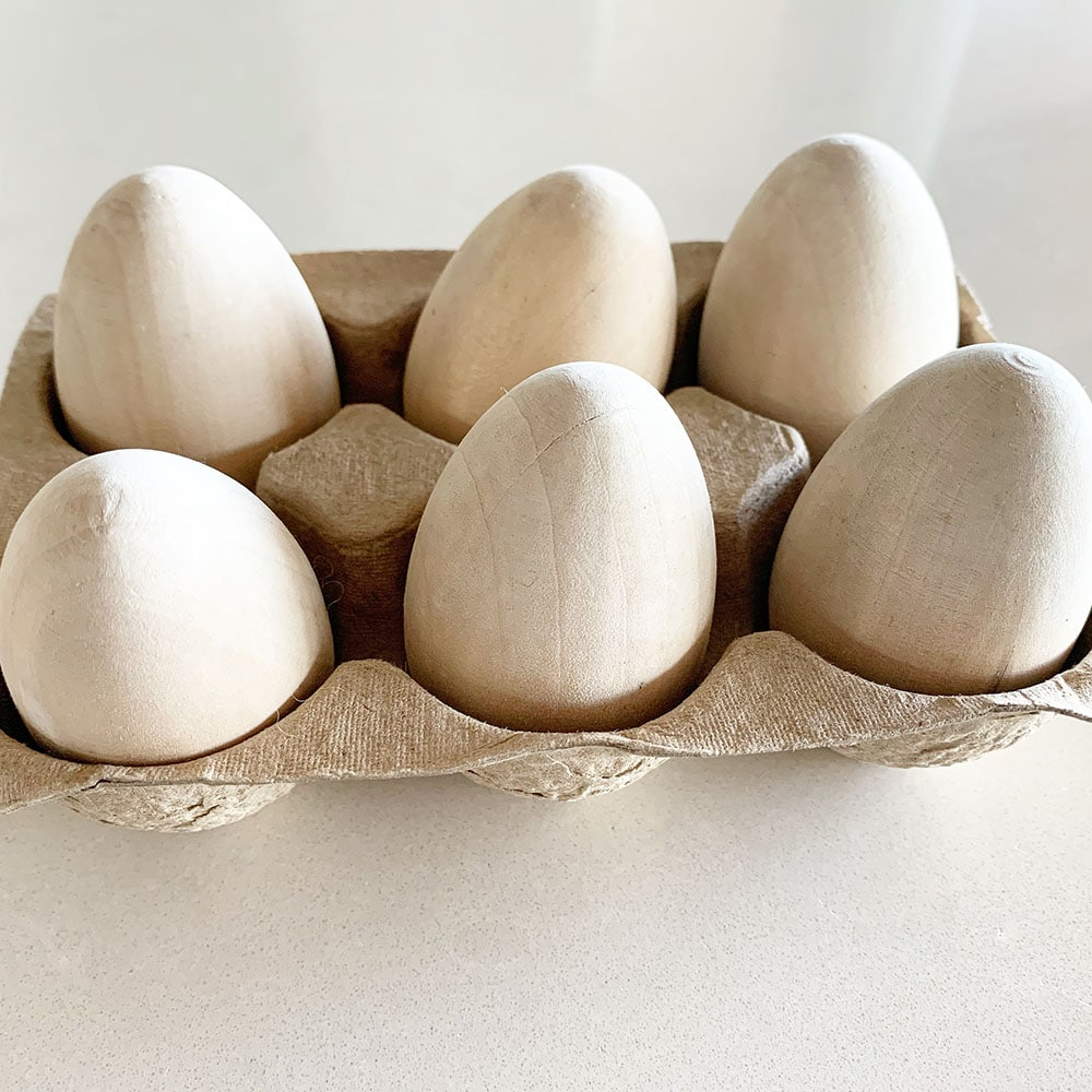 natural wood Easter eggs,