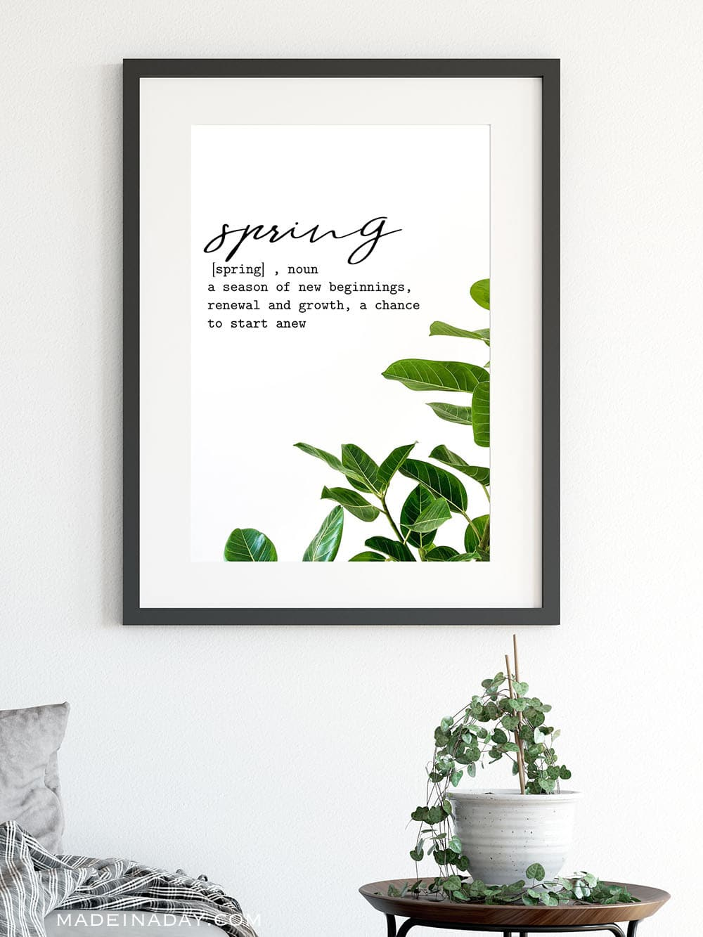minimal spring foliage wall art, printable wall art, spring definition wall art