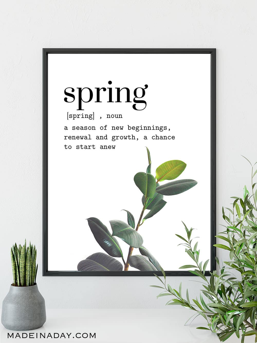 Spring definition rubber plant wall art, spring printable wall art,
