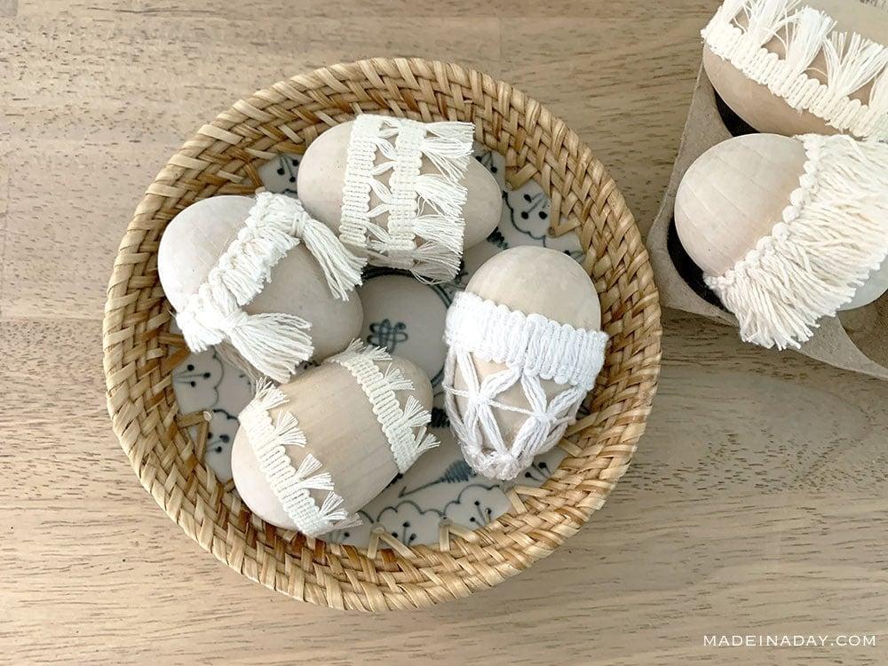 global Easter eggs, moroccan tassel Easter eggs, fabric trim Easter eggs, gypsy Easter eggs, macrame Easter eggs