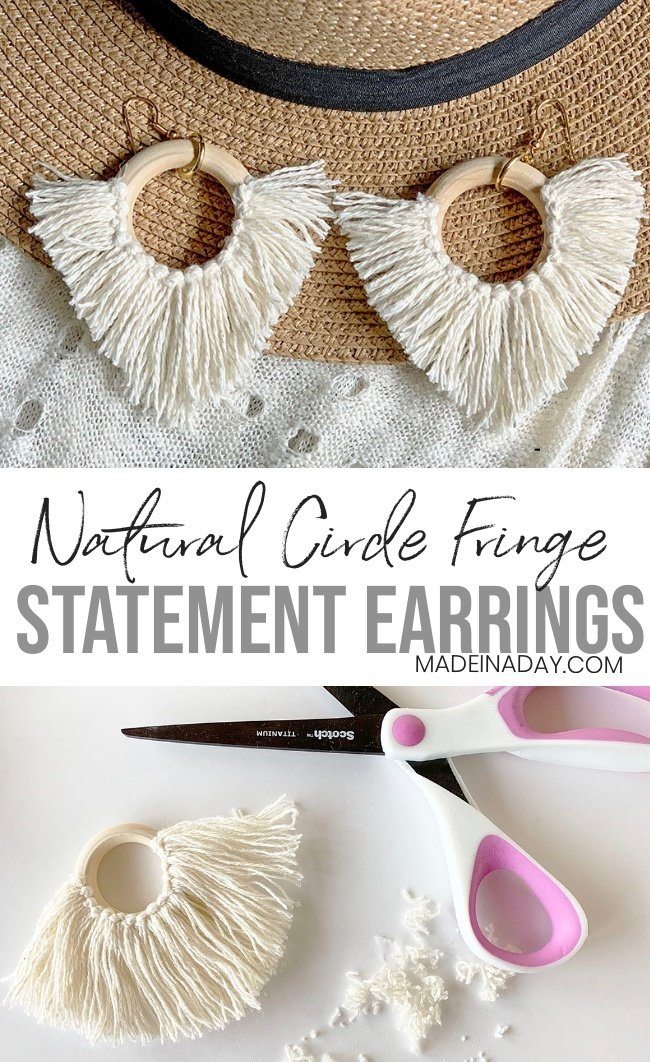 DIY Statement Circle Fringe Earrings, Statement earrings, hoop earrings, diy fringe earrings, tassel hoop earrings, circle tassel earrings, fringe tassel earrings, trendy fringe earring, natural fringe hoop earrings, diy earrings, boho style earrings, global earrings, #boohostyle #diy #jewelry #earrings #fringe #tassel #globalstyle #fashion #natural