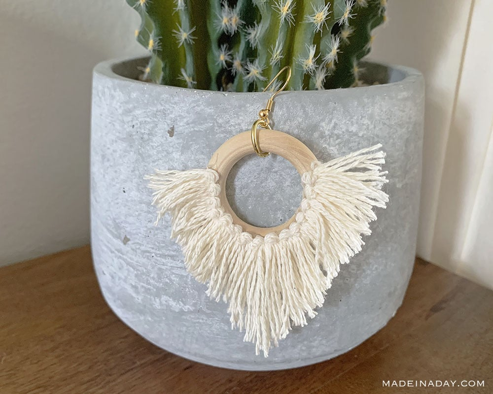 DIY Statement Circle Fringe Earrings, Statement earrings, hoop earrings, diy fringe earrings, tassel hoop earrings, circle tassel earrings, fringe tassel earrings, trendy fringe earring