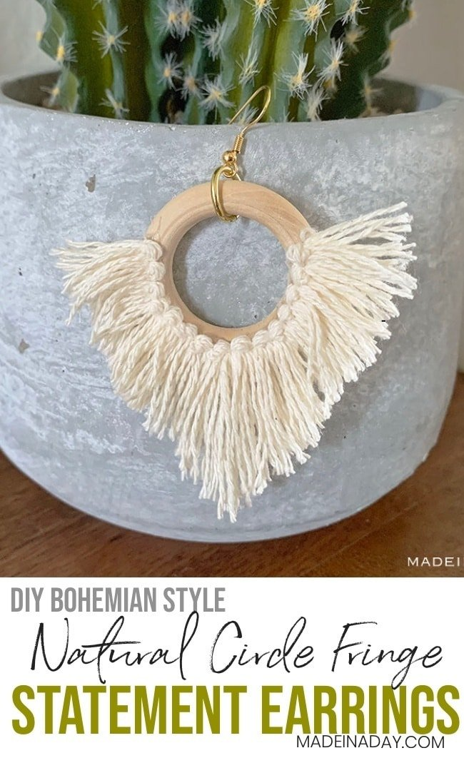 Effortless DIY Statement Circle Fringe Earrings 3