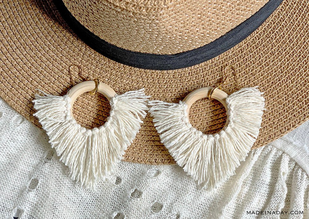DIY Statement Circle Fringe Earrings, Statement earrings, hoop earrings, v shaped earrings, tassel hoop earrings