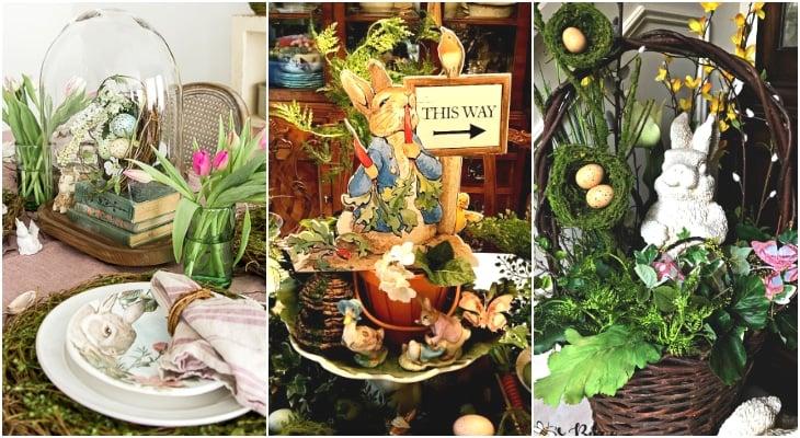 Easter tablescape, Bunny basket