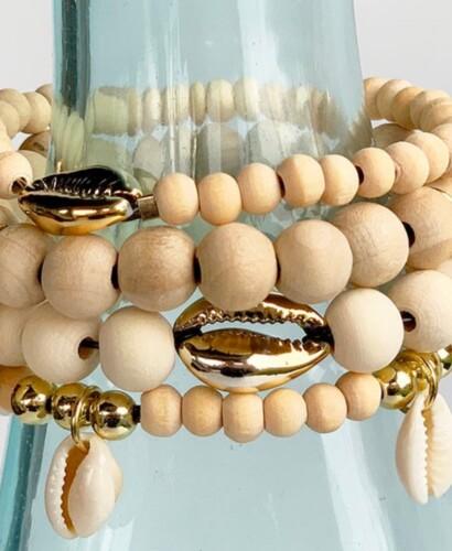 DIY Cowrie Shell Stack Bracelets 14