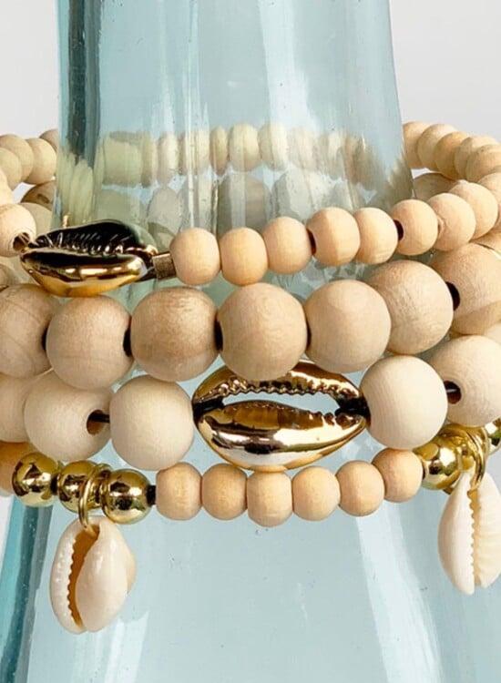 DIY Cowrie Shell Stack Bracelets 3