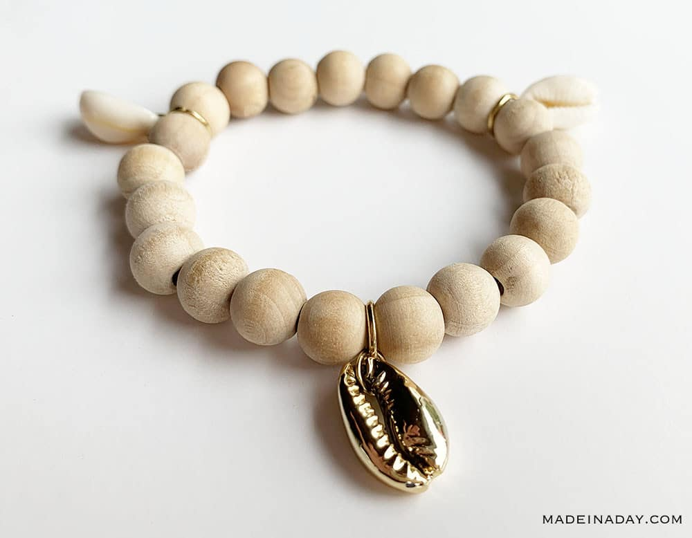 DIY Wood Bracelet with cowrie shell charms, cowrie shell bracelet, Gold Cowrie Shell bracelet, shell charm bracelet