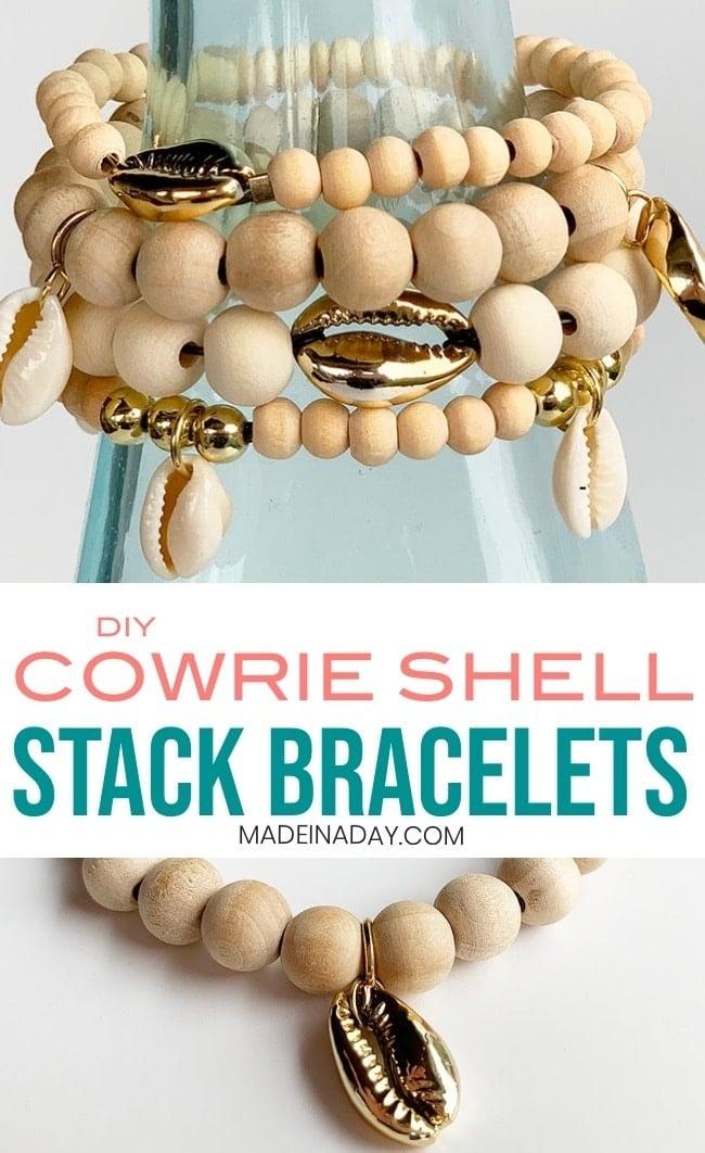 DIY Cowrie Shell Stack Bracelets