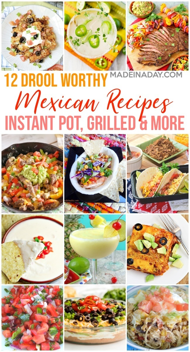 12 Drool Worthy Mexican Feast Recipes, restaurant salsa, homemade salsa, tater tot casserole, skillet fajitas, slow cooker Mexican chicken, pork tacos, white queso dip, 7 layer Mexican dip, Margarita, Mexican casserole, Mexican casserole, Mexican for a crowd, #mexicanfood #mexican #fajitias #queso #salsa #instantpot #slowcooker #tacos #appetizers #cincodemayo #casserole