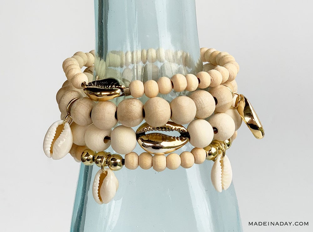 Stacked Wood Bead shell Bracelets