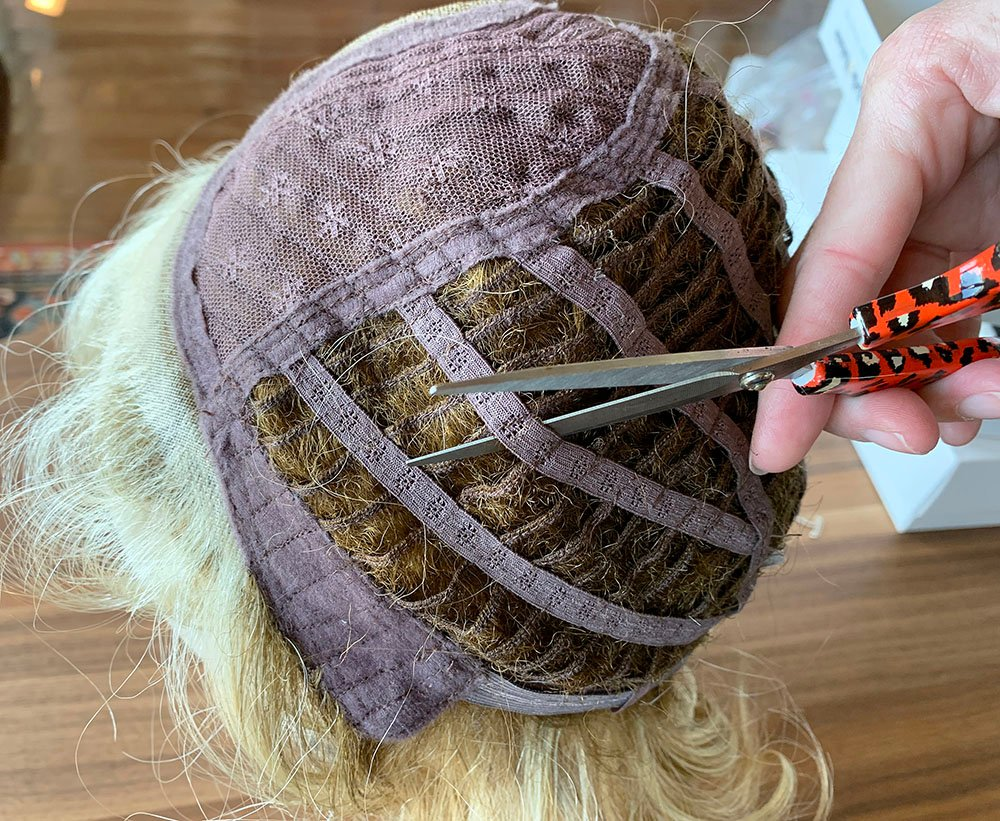 How to cut the base of a wig, wig to topper, cut a wig to make a topper