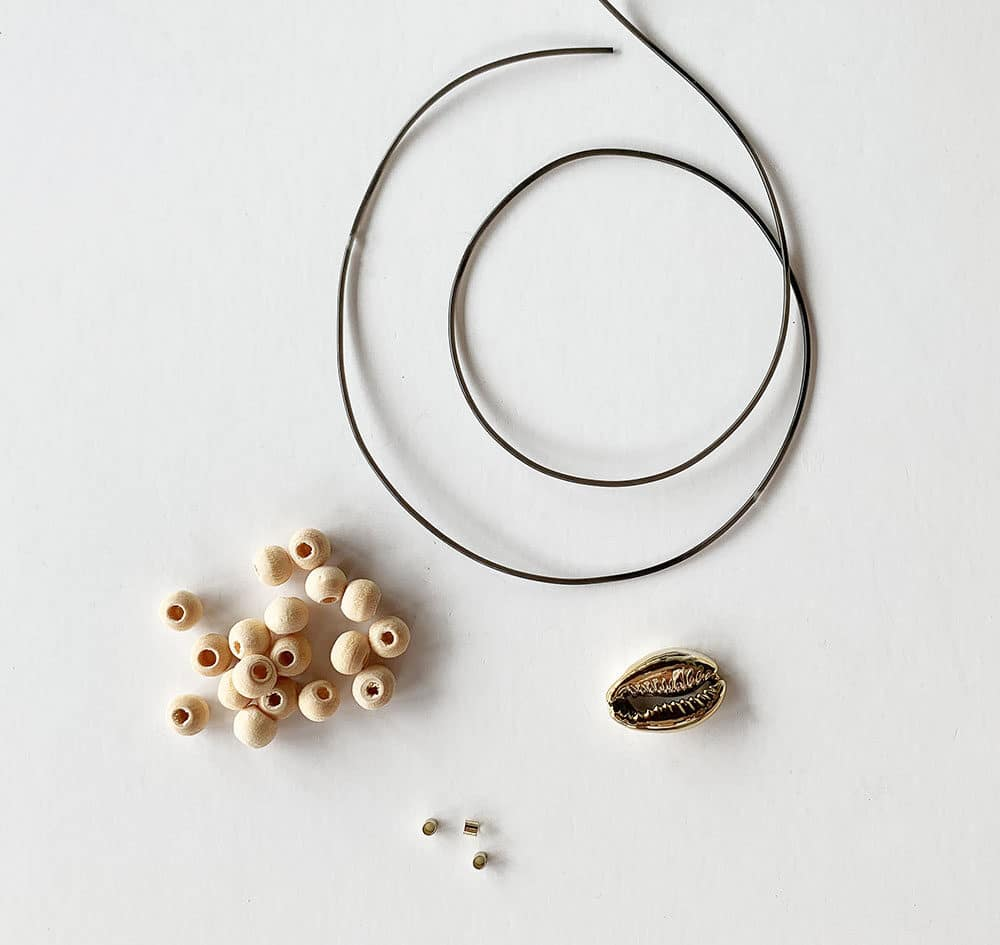 beads and string for cowrie shell bracelet