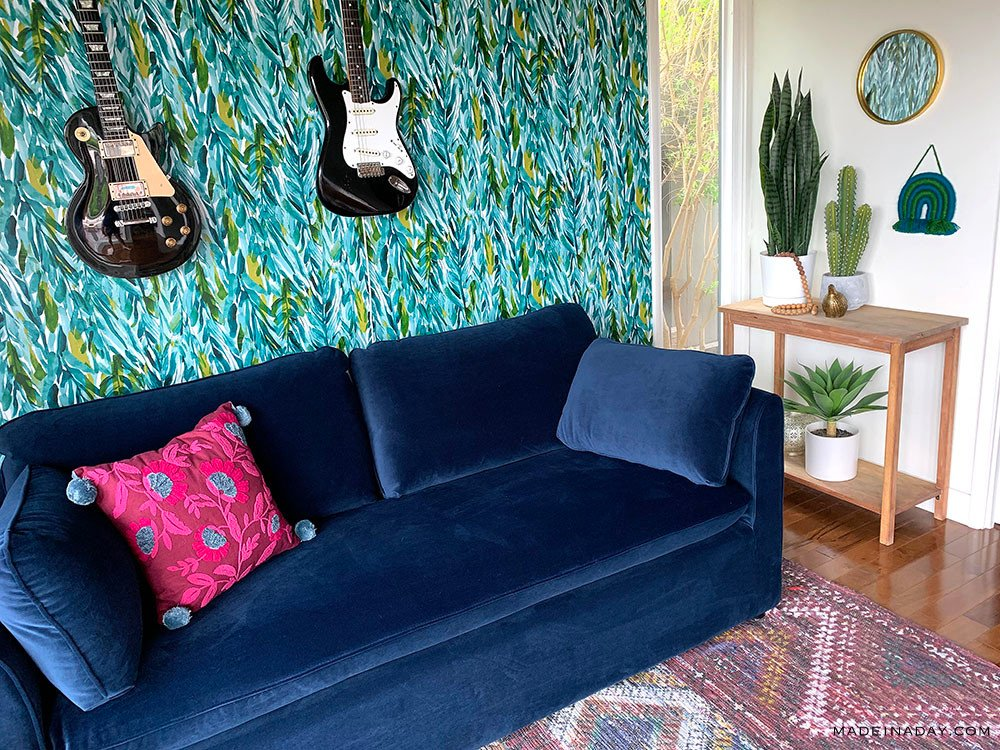 Tropical Boho Style Music Room, guest room pull out sofa, blue velvet sofa, couch