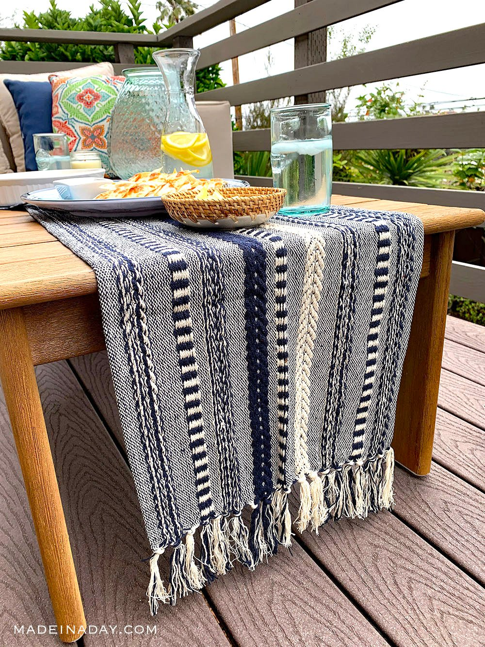Bungalow rose braided stripe table runner navy, boho table runner