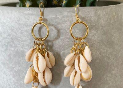 DIY Dangle Cowrie Shell Earrings 27