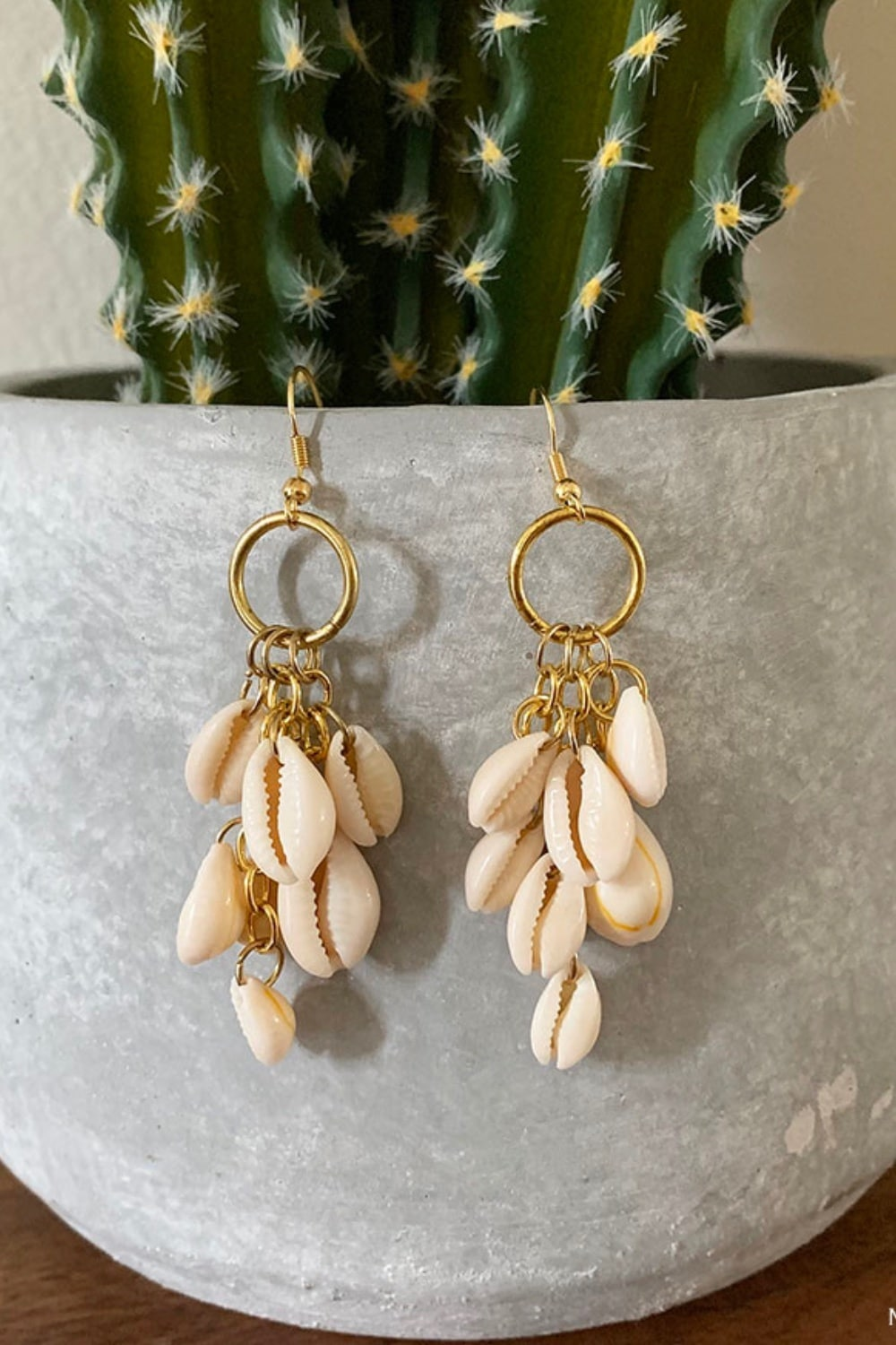 DIY Dangle Cowrie Shell Earrings