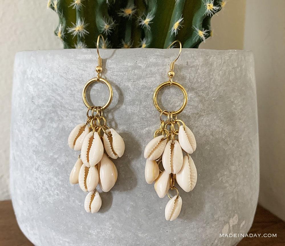 shell dangle earrings, shell drop earrings