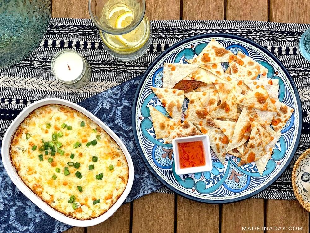 Crab rangoon dip with baked won ton chips sweet chili sauce