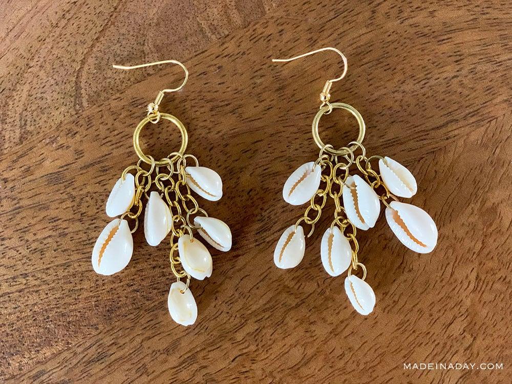 cowrie shell earrings, cowrie shell hoop earrings, dangle shell earring