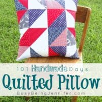 101 Handmade Days: Red White and Blue Quilted Pillow
