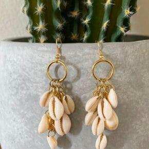 DIY Dangle Cowrie Shell Earrings 6