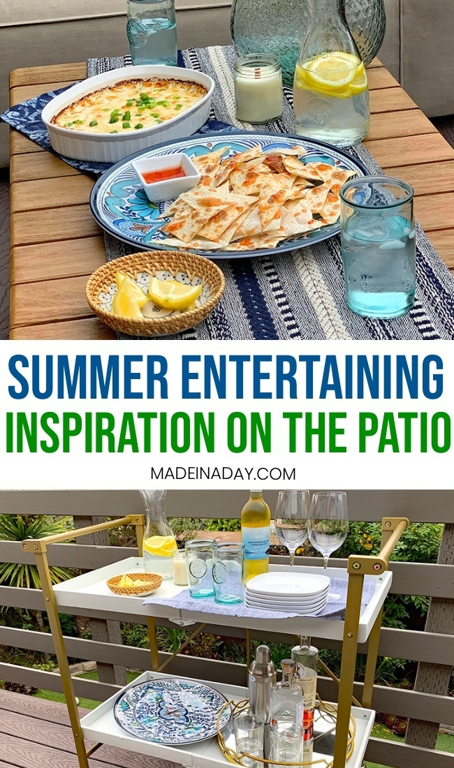 Bar cart and summer entertainment, serving guest on the patio
