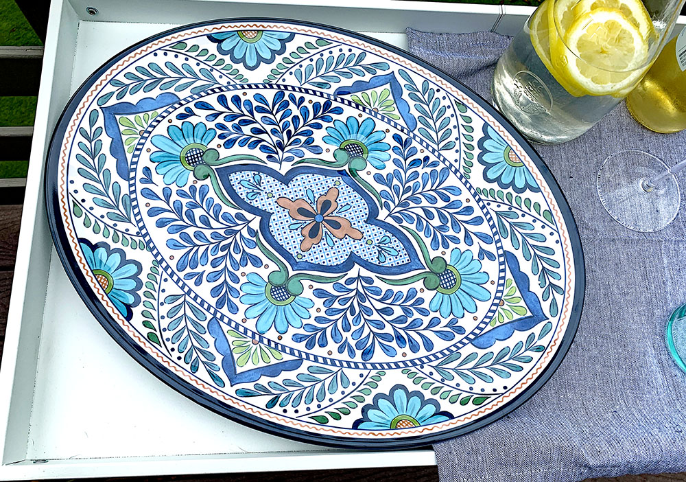 World Menagerie Bezu Blue melamine platter