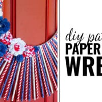 Patriotic Straw Wreath with Paper Flowers