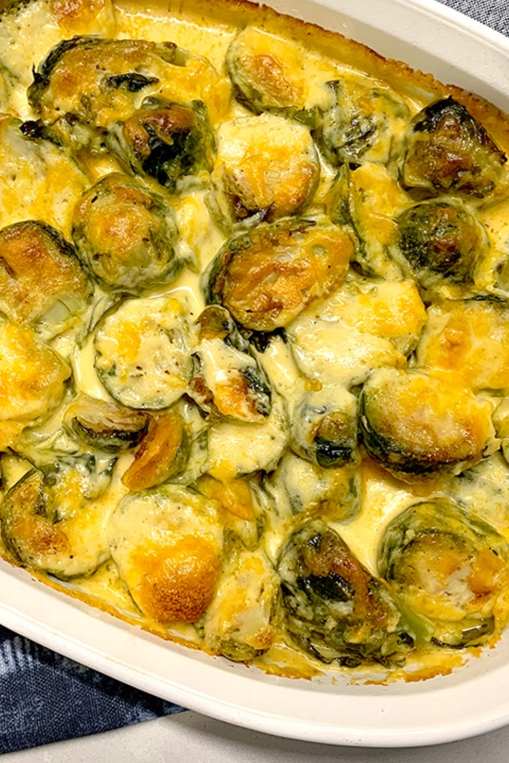 Dreamy Creamy Baked Cheesy Brussels Sprouts