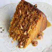 Crockpot Pumpkin Cake with Maple Pecan Topping
