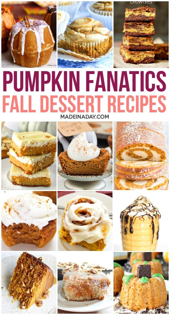 Pumpkin dessert recipes, pumpkin bars, no bake pumpkin desserts, pumpkin sweet roll, pumpkin bundt cake,