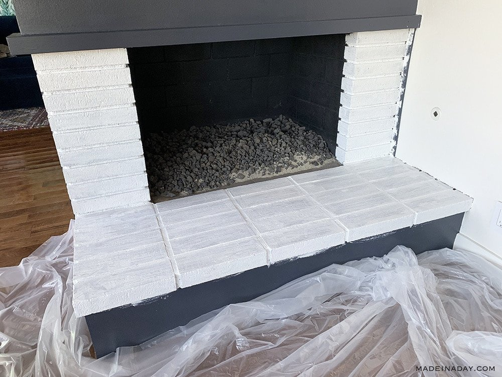 Primer on bricks, how to paint bricks, painting a fireplace